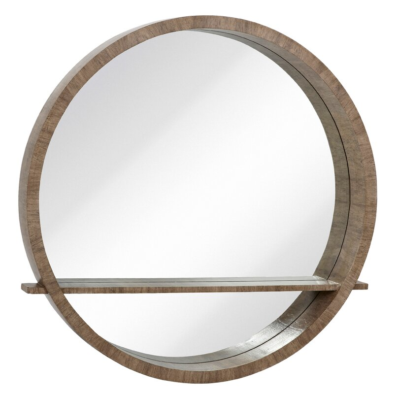Wall Mirror With Shelf majestic mirror distressed gray circular wall mirror with shelf