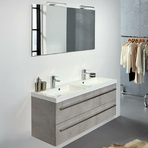 Second edition 90cm wall mounted double basin vanity unit