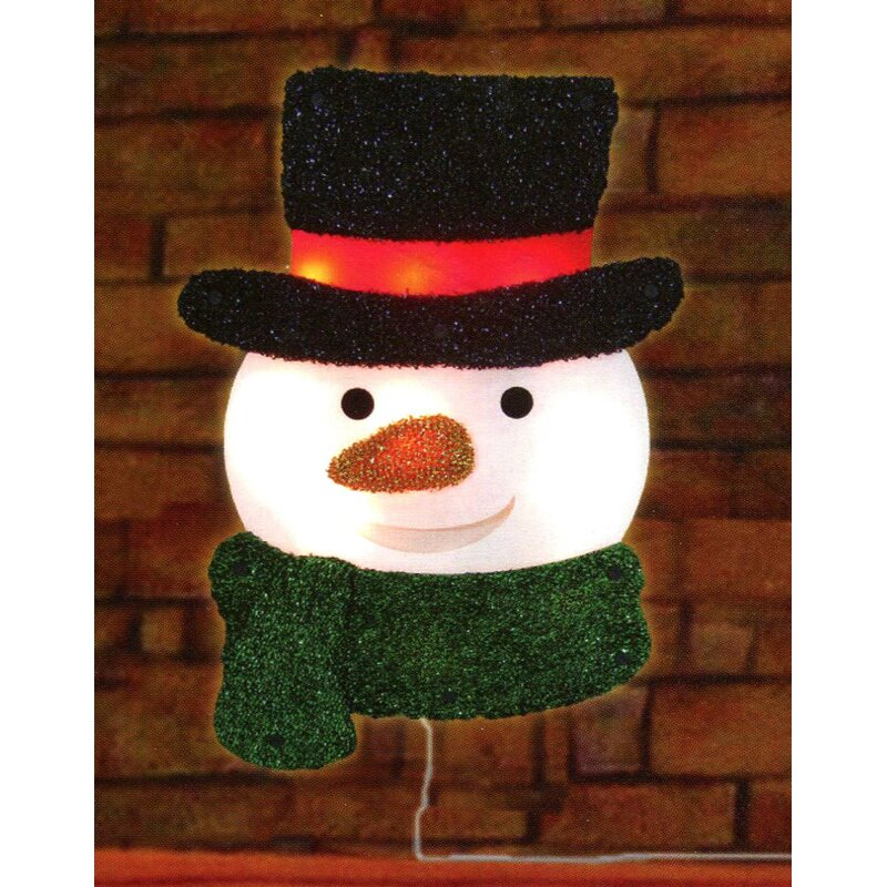 lighted tinsel snowman with top hat christmas window silhouette decoration - Top Hat Christmas Decorations