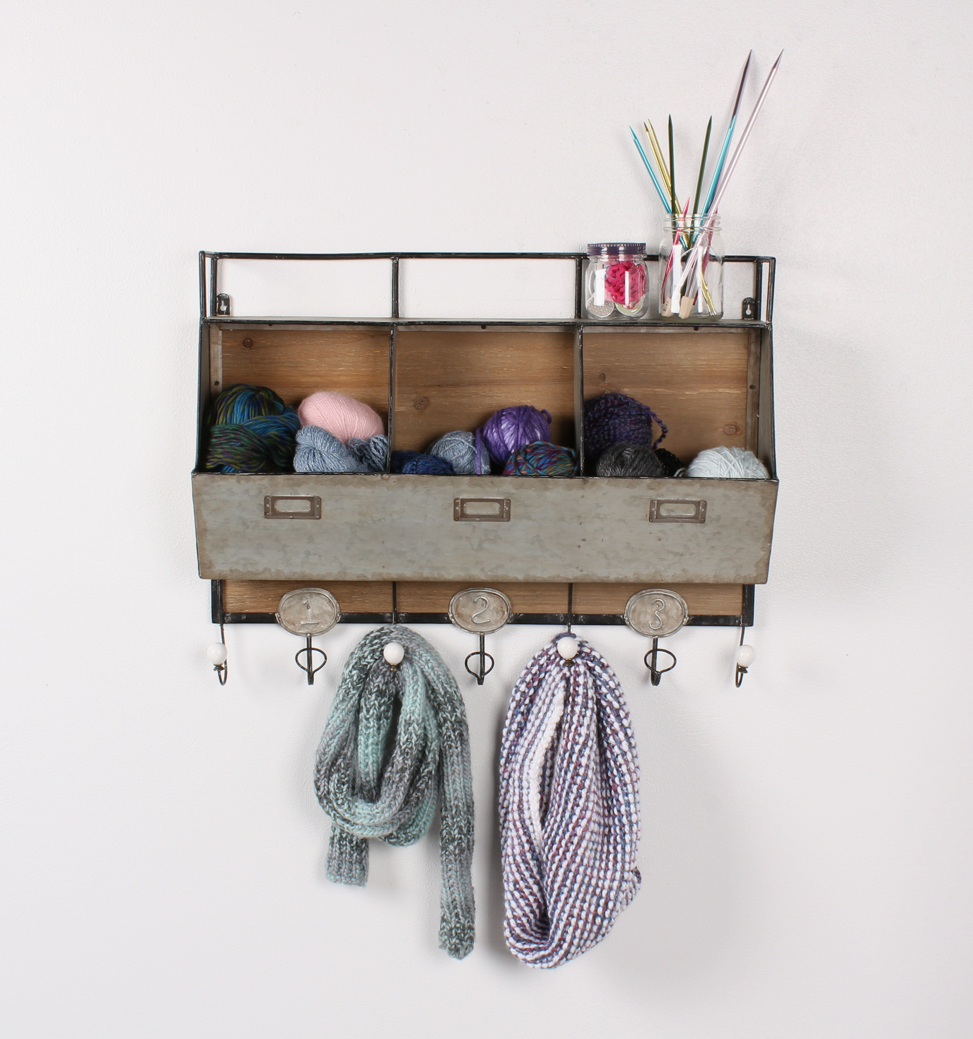 DSOV Arnica Rustic Wood And Metal Wall Storage Pockets With Coat Rack Hooks  U0026 Reviews | Wayfair