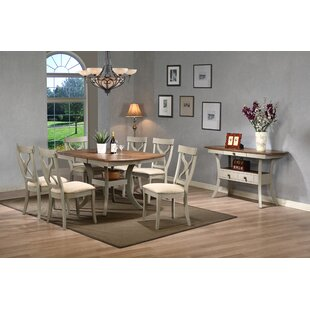 Baxton Studio Balmoral Shabby Elegance Country Cottage Antique Oak Wood And Distressed Light Grey 8 Piece Dining Set With 40 Inch Extendable Table