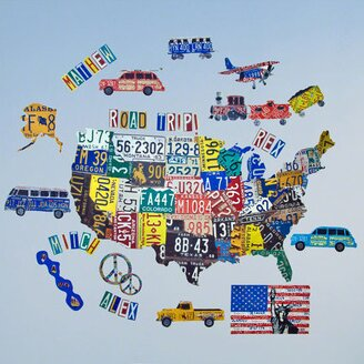 Oopsy Daisy License Plate USA Map Peel and Place Wall Decal