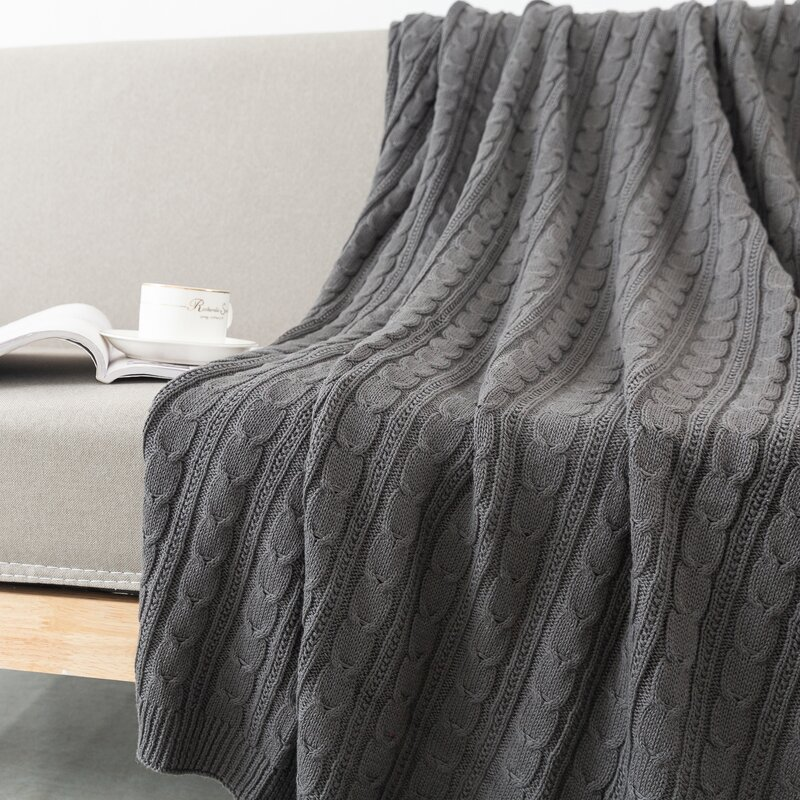 Roby Cable Knit Cotton Throw