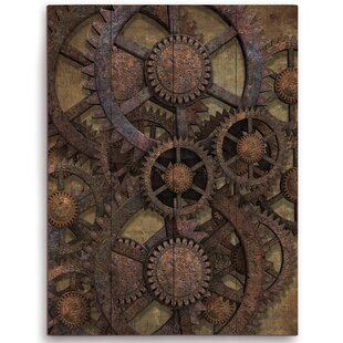 Rusted Tin Gears Graphic Art On Plaque