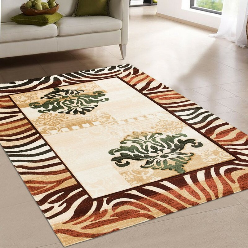 AllStar Rugs Print Brown Area Rug, Size: Rectangle 79 x 105