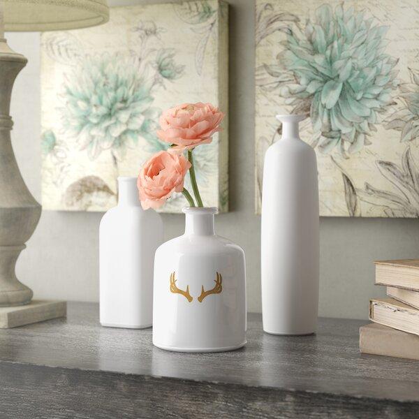 White Vase With Flowers Wayfair