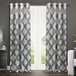 fletcher damask blackout thermal grommet curtain panels set of 2