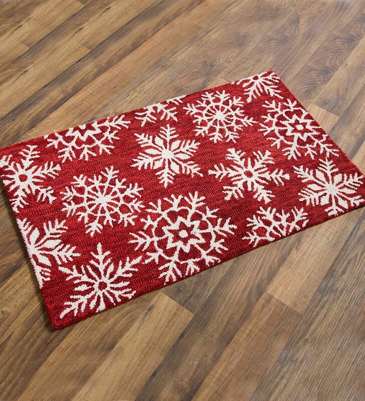 Snowflake Wool Red White Area Rug