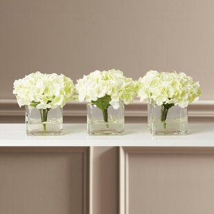 3218d4829c6 Faux Potted Mini Hydrangea Floral Arrangement in Vase (Set of 3)