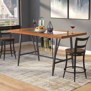 Baeza Wood Top Counter Height Dining Table by Mercury Row