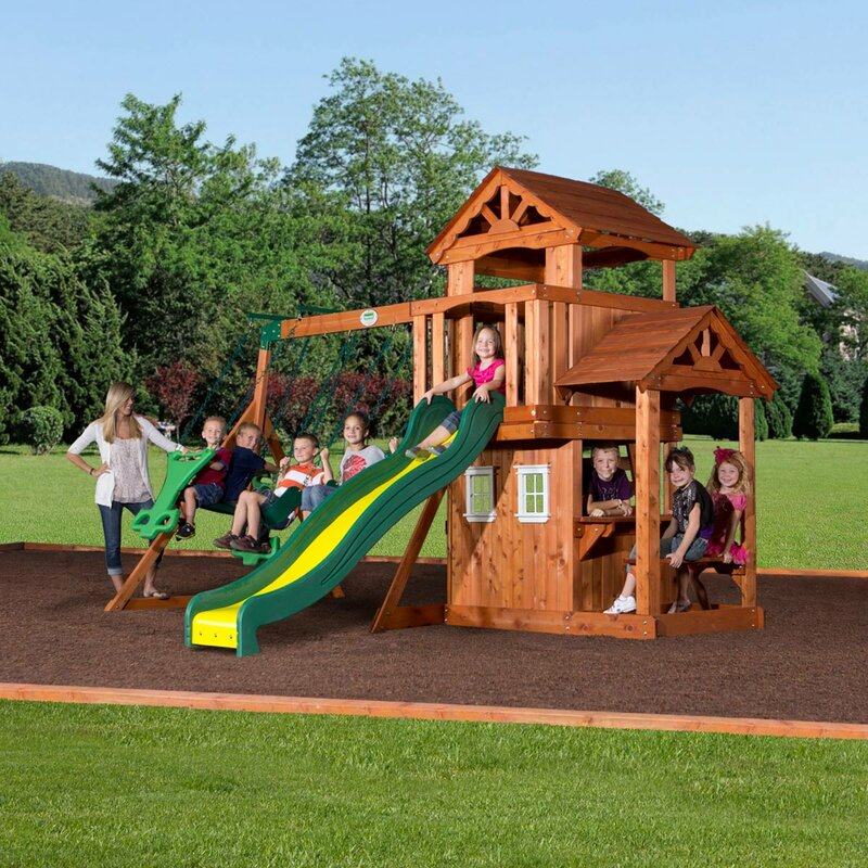 Backyard Discovery Cedar View Swing Set backyard discovery tanglewood all cedar swing set & reviews | wayfair