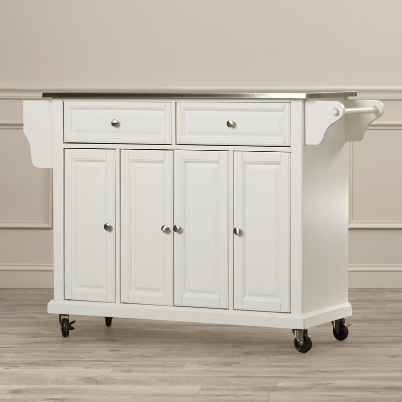 Darby Home Co Chan Kitchen Island with Stainless Steel Top & Reviews ...