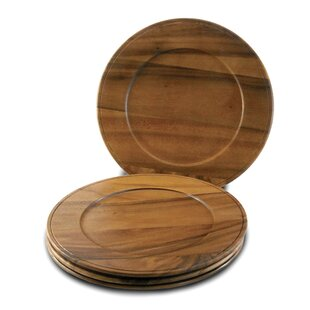 Acacia Beaded Edge Charger (Set of 4)  sc 1 st  Wayfair & Wood Charger Plates You\u0027ll Love | Wayfair
