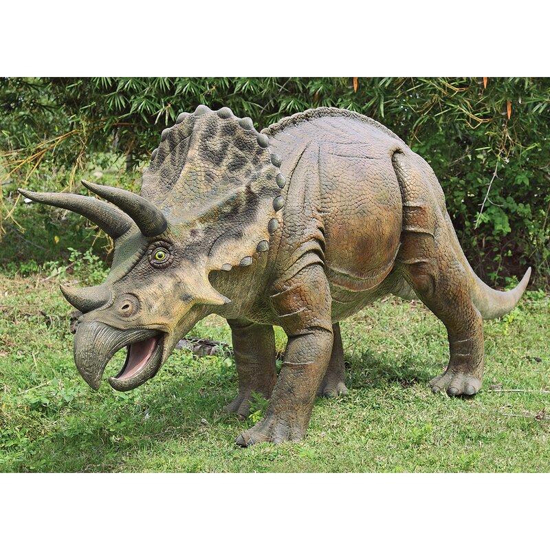 design toscano jurassic sized triceratops dinosaur statue wayfair