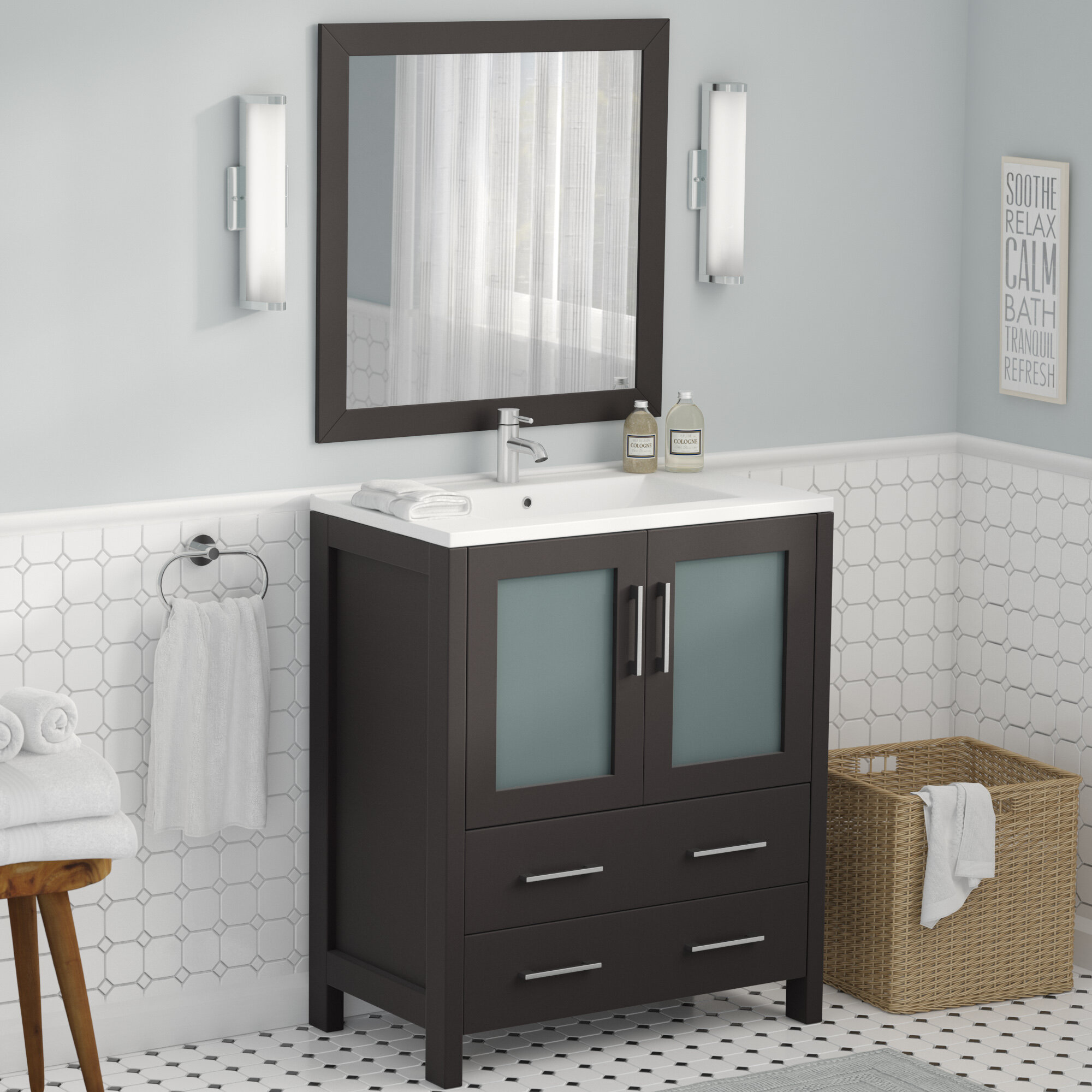 "Wade Logan Karson 30"" Single Bathroom Vanity Set with Mirror & Reviews | Wayfair"