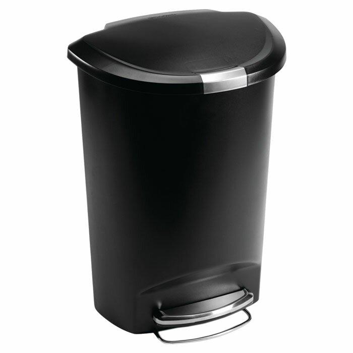 . 13 Gallon Semi Round Step Trash Can  Plastic