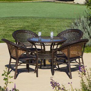 Charis 5 Piece Wicker Outdoor Dining Set