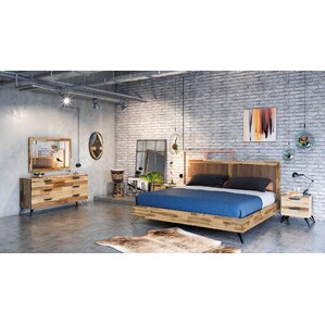sofia light wood platform 5 piece bedroom set