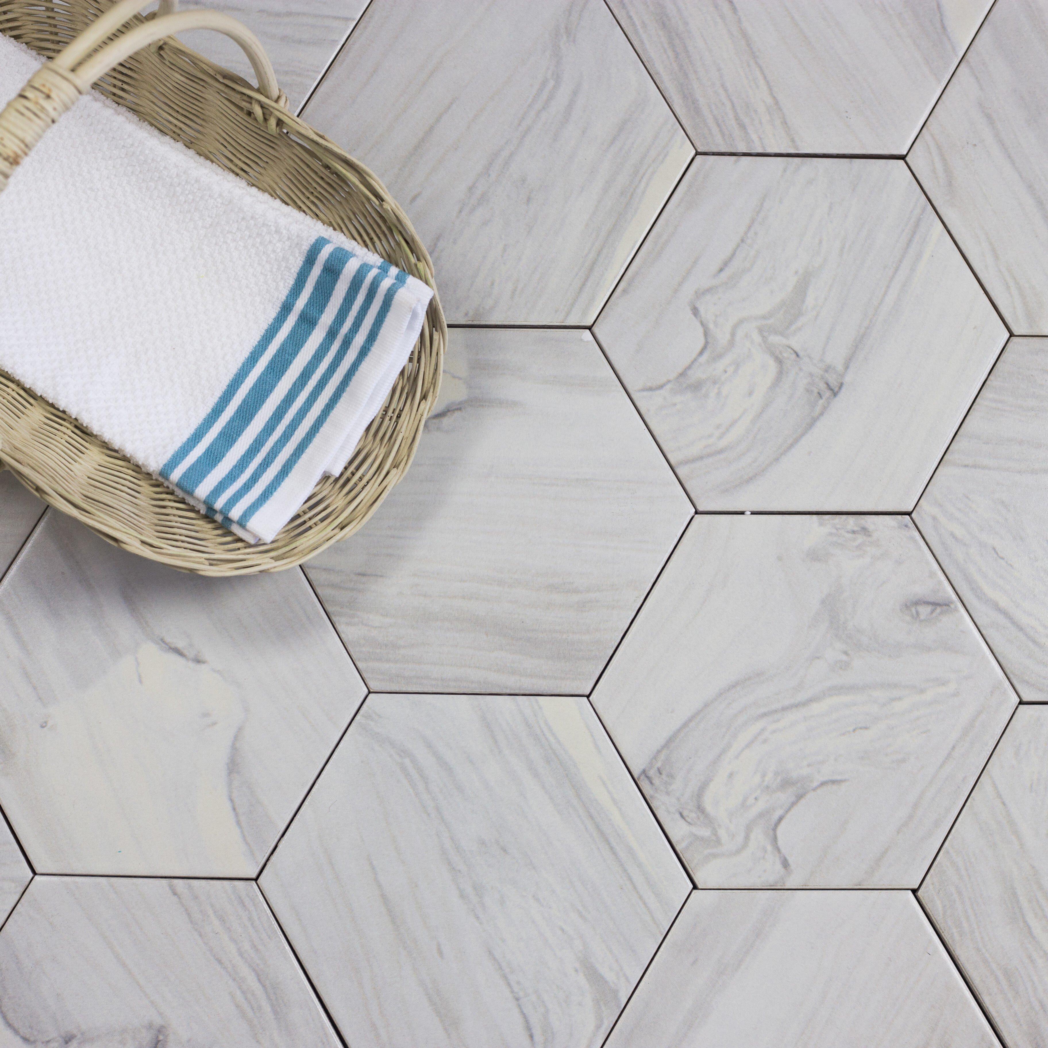 Abolos Artisan Wood Hexagon 8 X 8 Ceramic Wood Look Tile In White