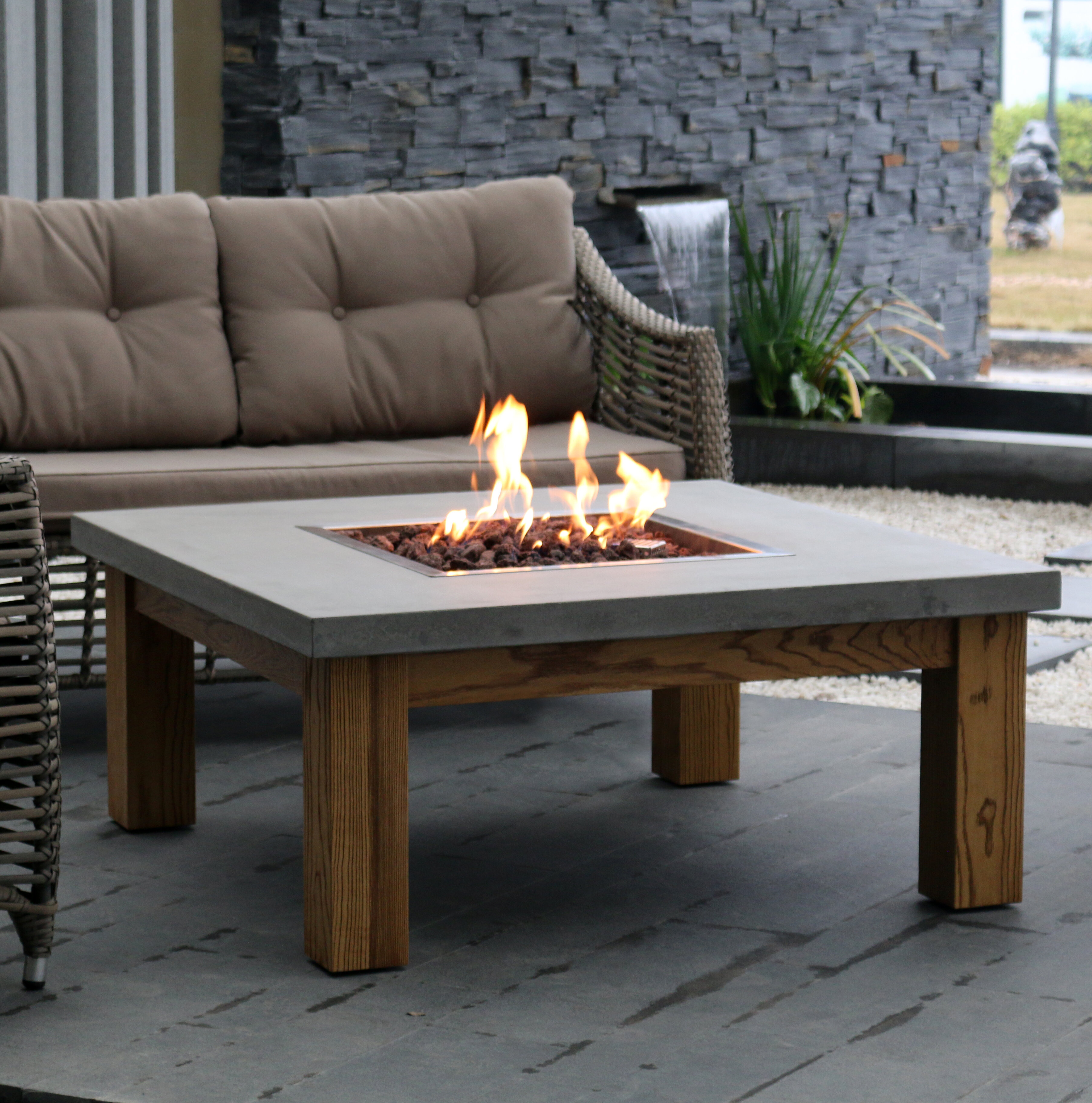 Elementi Amish Wood Gas Fire Pit Table | Wayfair