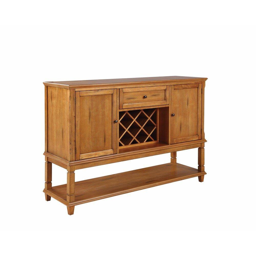 August Grove Kukkapalli Wooden Buffet Table With Wine Rack Wayfair