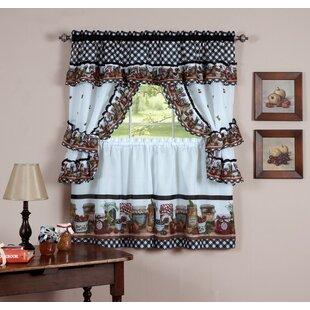 kitchen window treatments farmhouse higbee piece kitchen curtain set curtains valances youll love wayfair