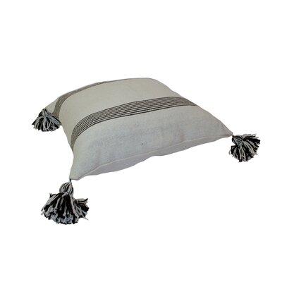 Mistana Juno Pom Pom Pillows Color: Brown Stripes on White