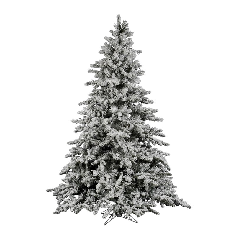 Flock Utica 7.5' Green/White Fir Trees Artificial Christmas Tree with Stand - Vickerman Flock Utica 7.5' Green/White Fir Trees Artificial