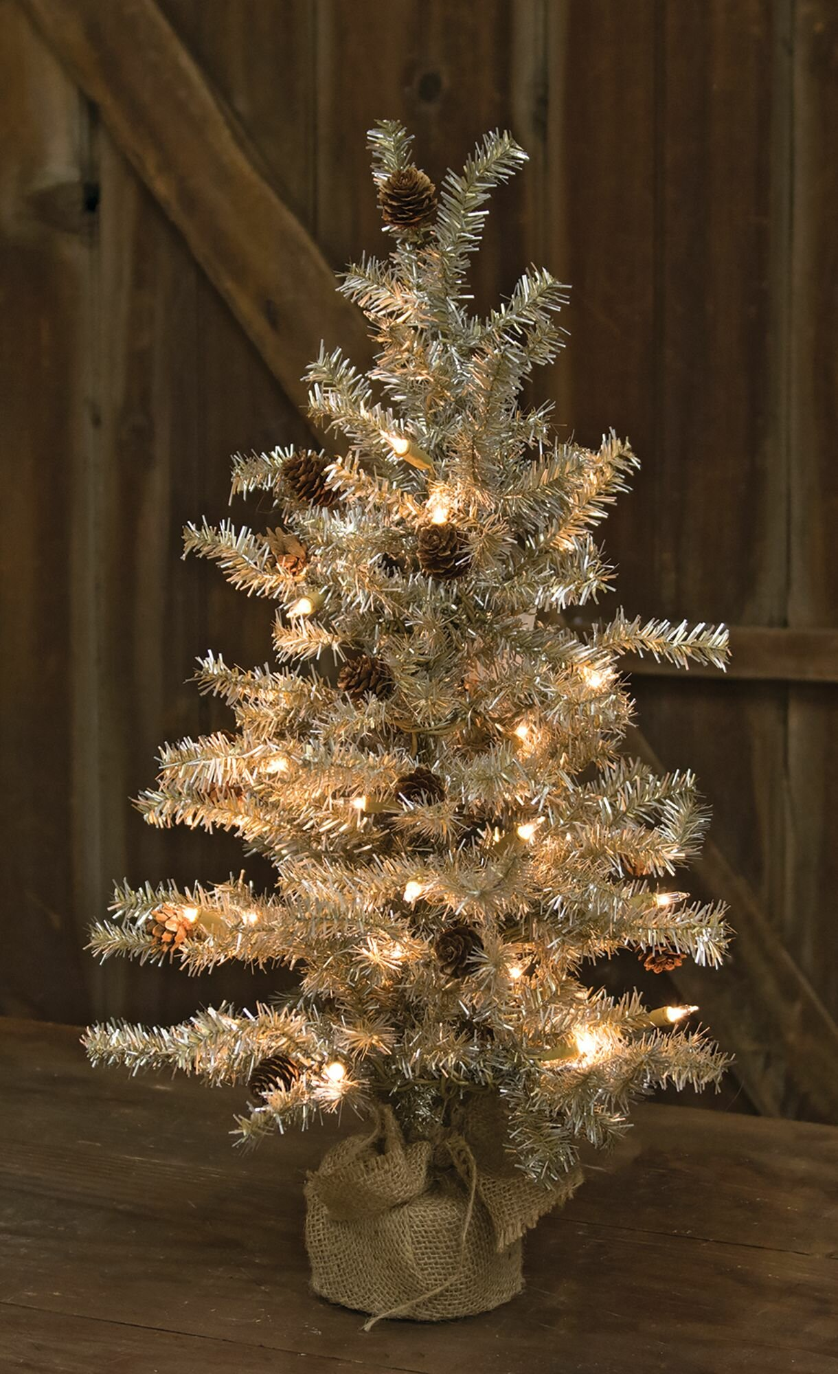 the holiday aisle tinsel silver pine artificial christmas tree with clearwhite lights reviews wayfair