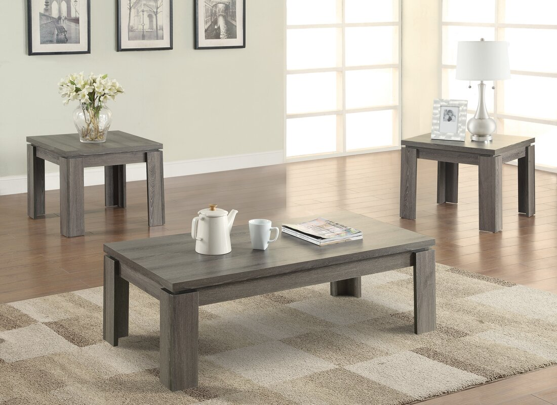 Zipcode design norma 3 piece coffee table set reviews - Three piece living room table set ...