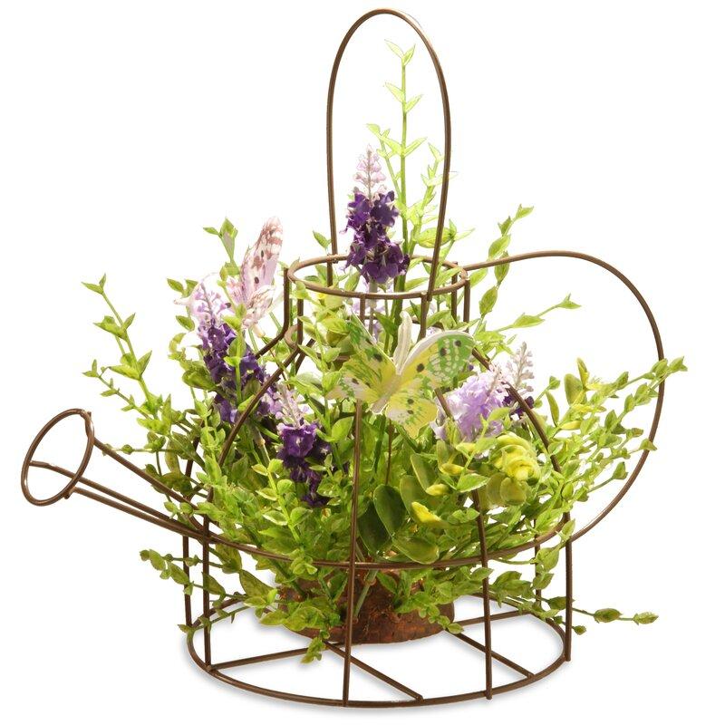 National Tree Co. Lavender Flowers Arrangements in Kettle Frame ...