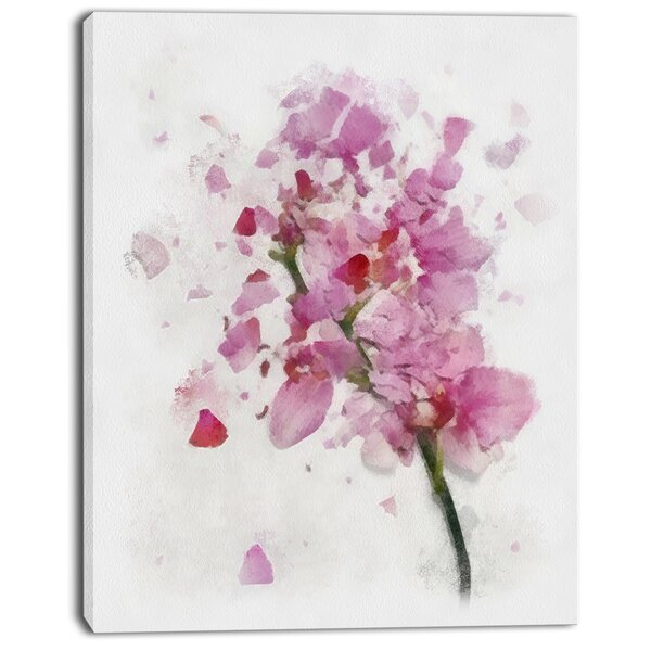 DesignArt 'Pink Flower with Falling Petals' Painting Print on Wrapped Canvas | Wayfair