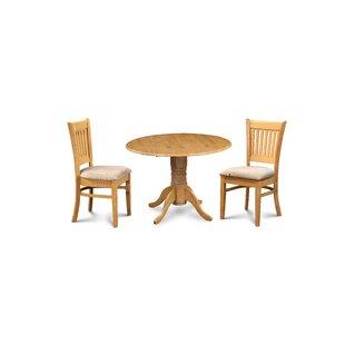Miriam 3 Piece Drop Leaf Solid Wood Dining Set