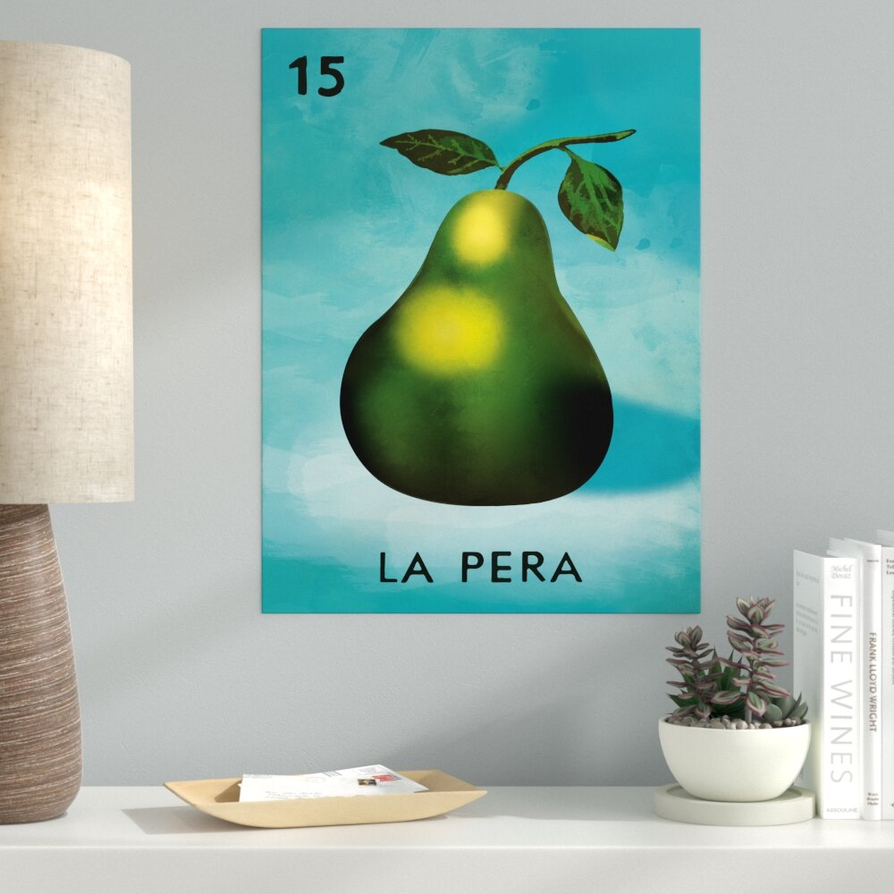 Ebern Designs \'La Pera Pear Kitchen\' Graphic Art Print on Canvas ...
