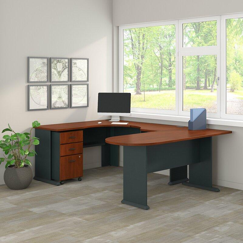 Bush Business Furniture Series A Corner U Shaped Desk With File Cabinet Wayfair