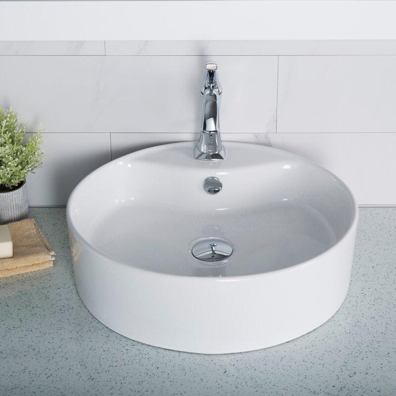 Kraus Elavo Ceramic Round Vessel Bathroom Sink With
