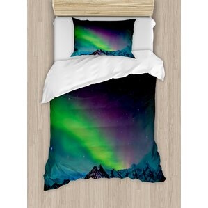 northern lights southern iceland on sky over rocky hills wild night view duvet set