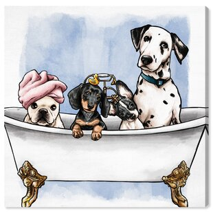 37dcefaf1337 Dogs and Puppies  Pets in the Tub  Print on Wrapped Canvas