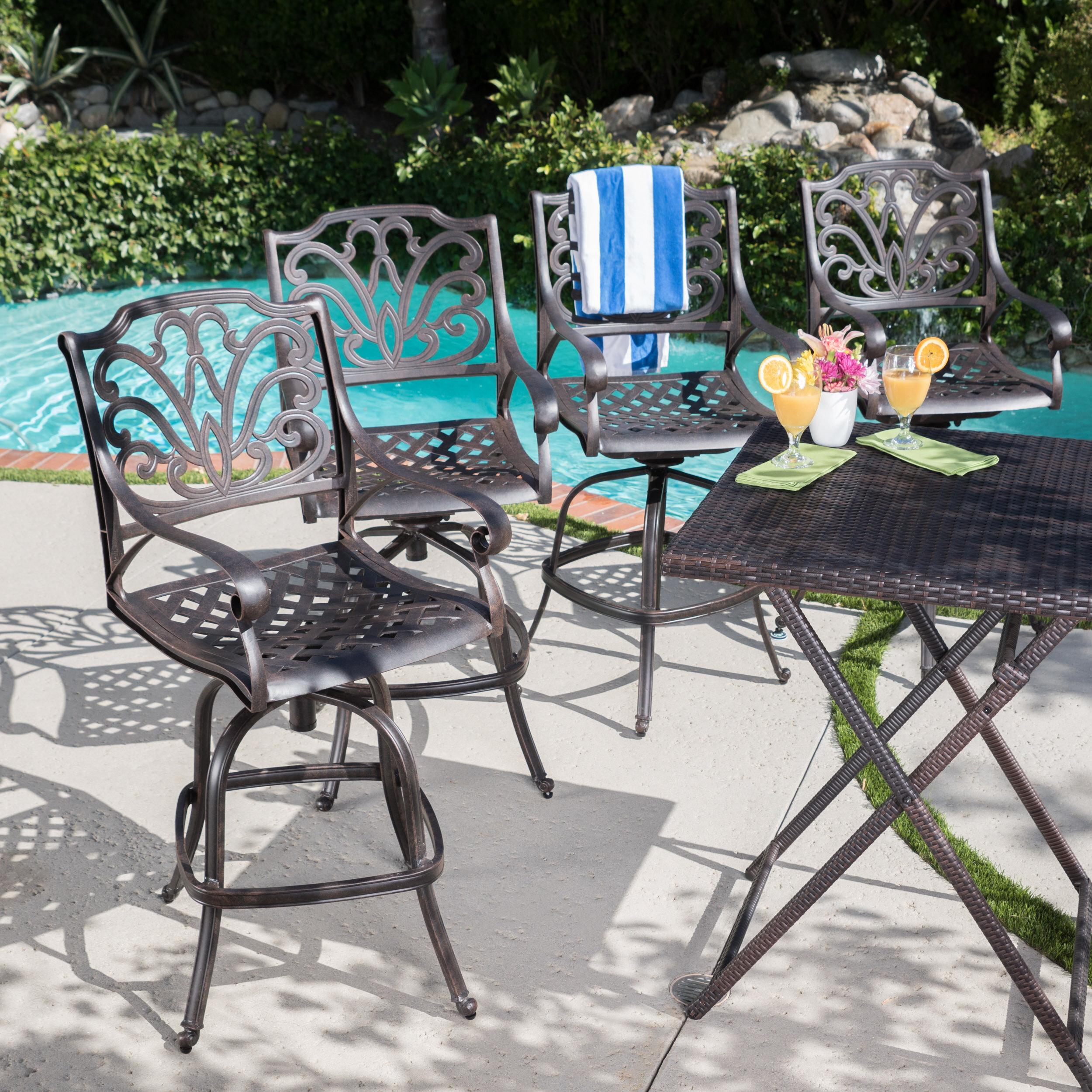 fleur de lis living brownridge outdoor cast aluminum patio bar