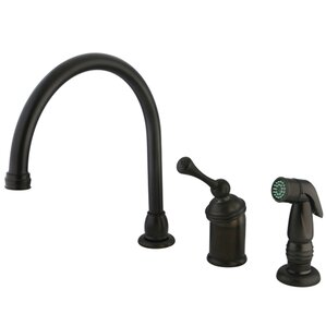 Kingston Brass Buckingham Single Handle Kitchen Faucet with Spray