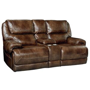 Applewood Console Power Motion Leather Reclining Loveseat by Red Barrel St..