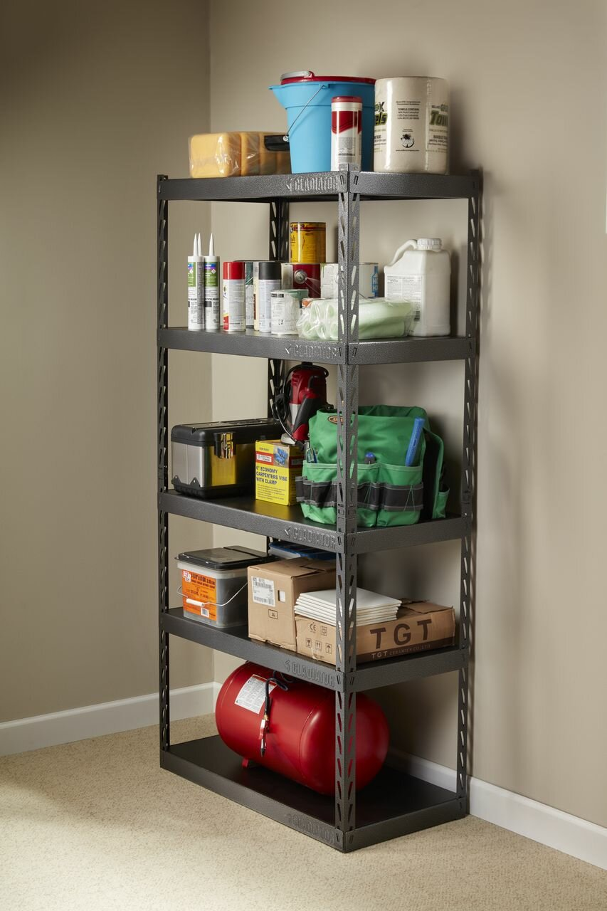 gladiator gladiator ez connect rack 36 wide ez connect rack with rh wayfair com 18 deep white shelves 18 inch deep wall shelves