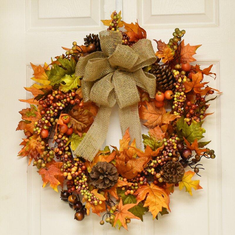 the holiday aisle 22 fall berry and oak leaf wreath reviews wayfair