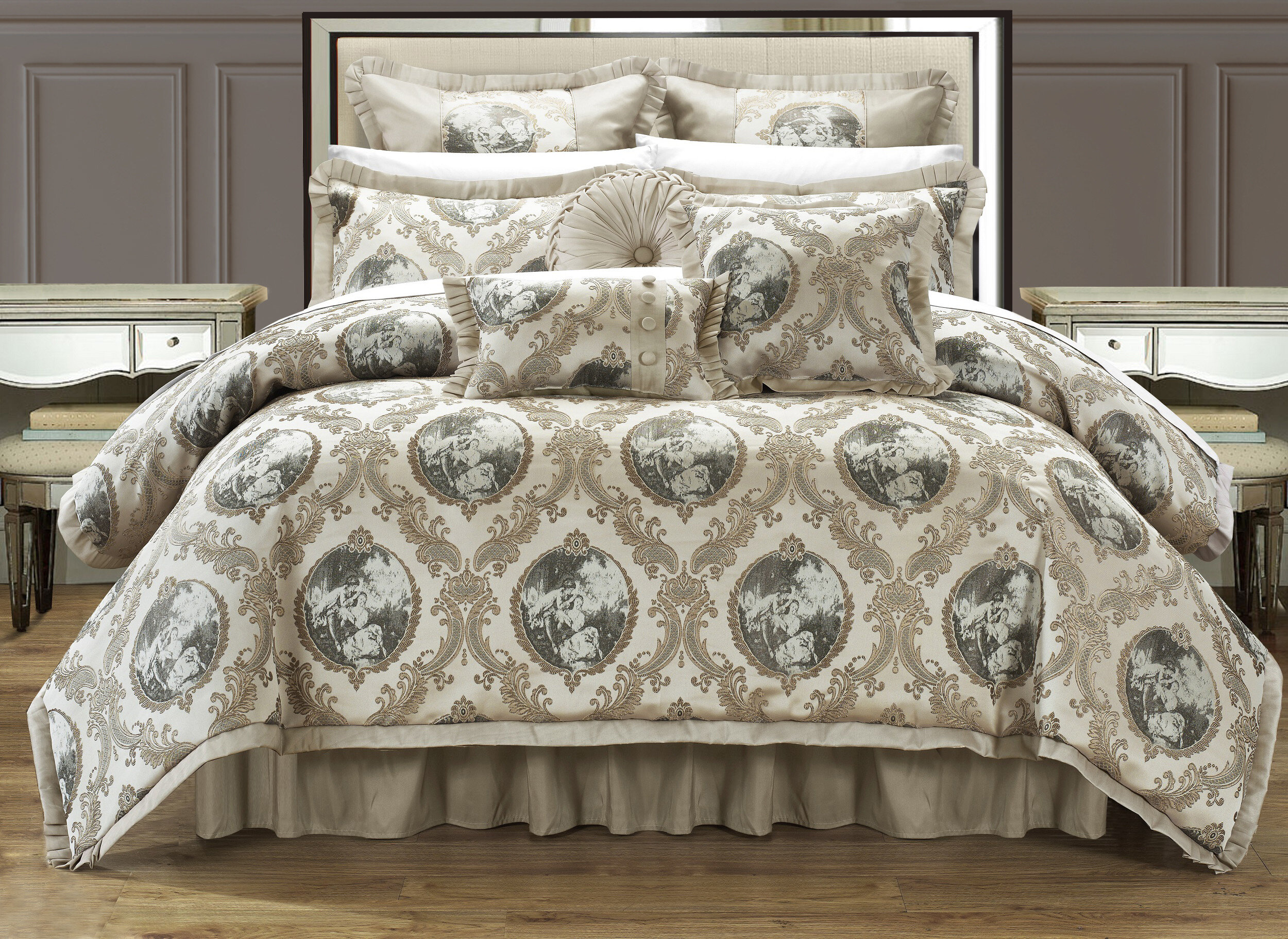 set queen natural avenue bcs avenuea a nat piece aico comforter