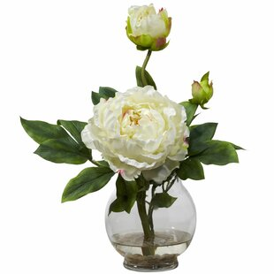 White peonies in vase wayfair white peony in glass fluted vase mightylinksfo