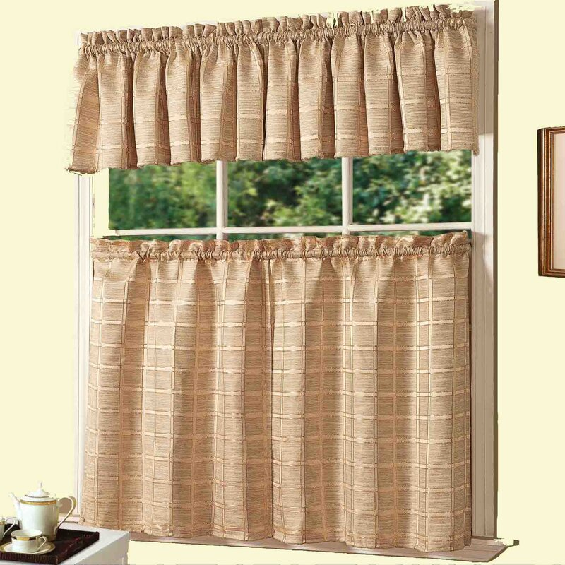 Dainty Home Jeanette 3 Piece Kitchen Curtain Set & Reviews