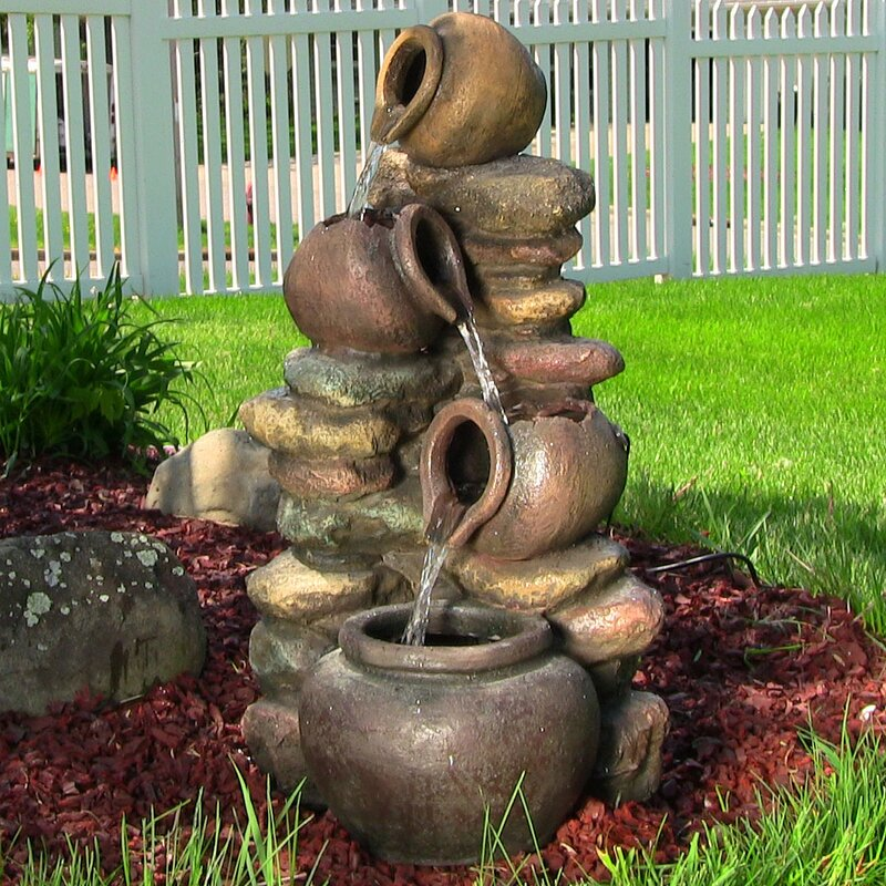 Attirant Fiberglass Honey Pot With Stones Electric Water Fountain With Light