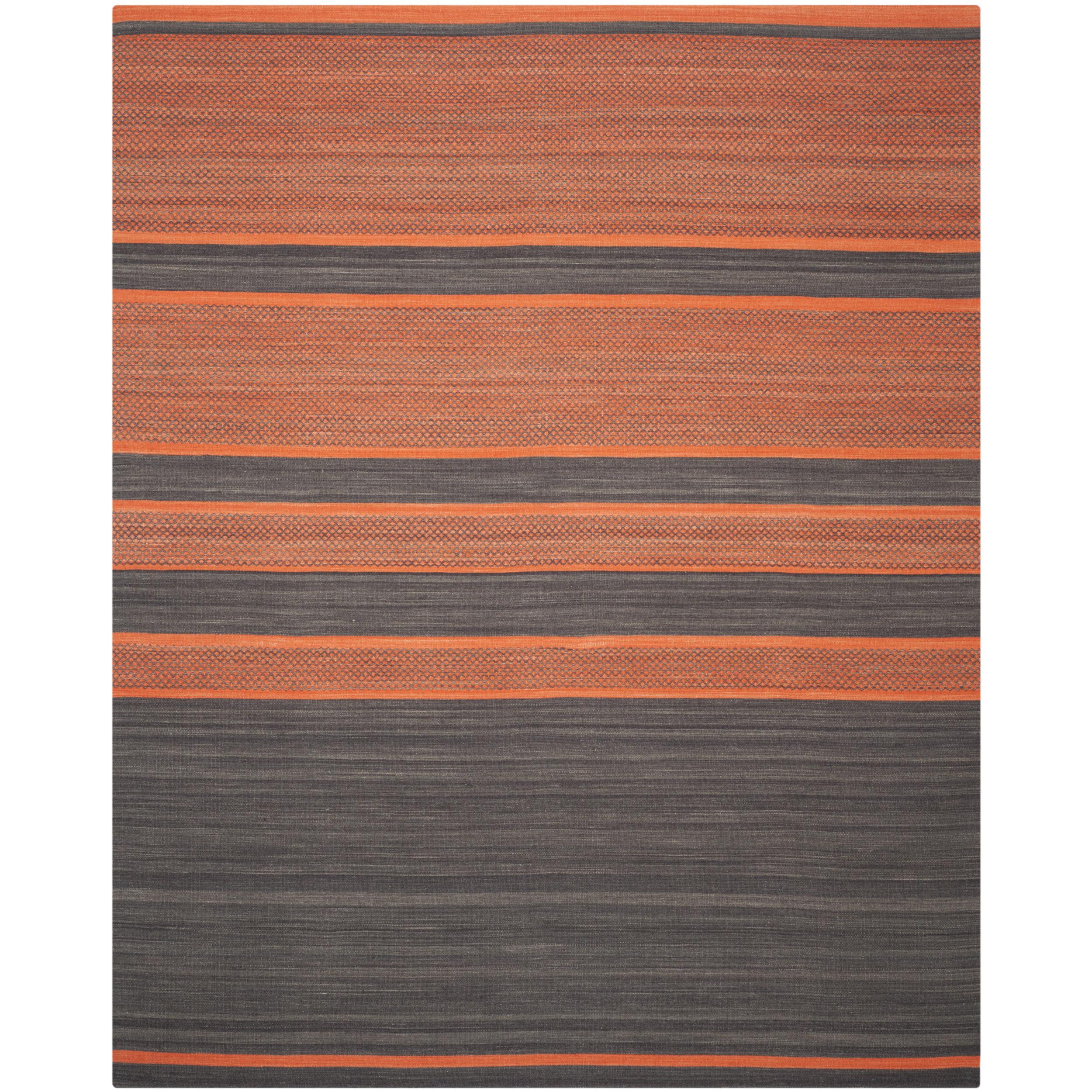 Area Rug 8x10 Orange: Safavieh Kilim Hand Woven Cotton Grey/Orange Area Rug