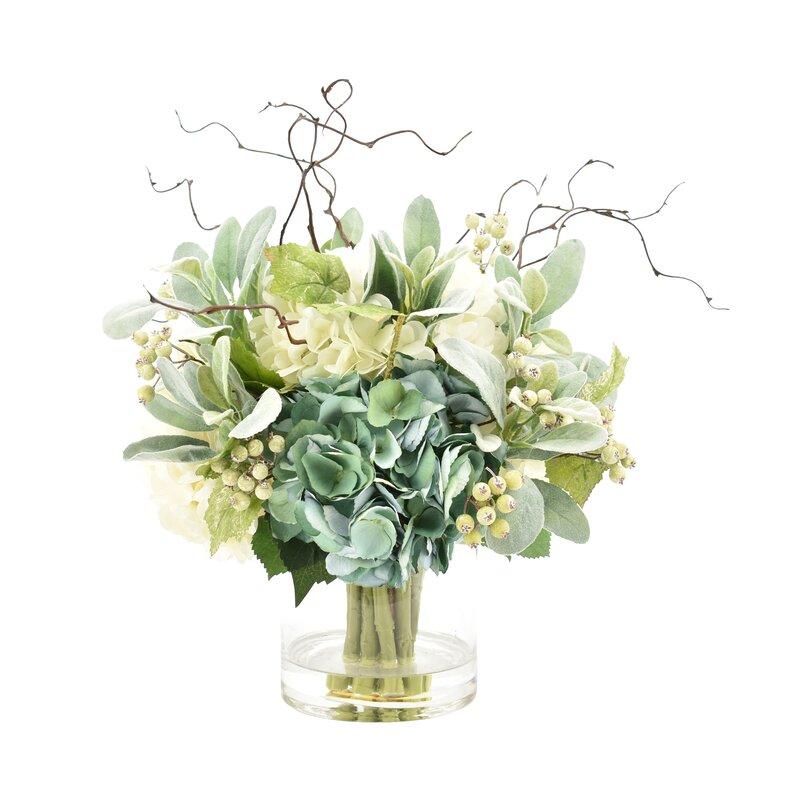 August Grove Hydrangeas Floral Arrangement In Glass Vase Reviews