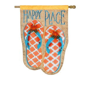 85a68e07d7e4 Happy Place Flip Flops 2-Sided Polyester 3 8 x 2 4 House Flag